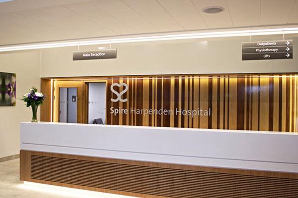 front desk at Spire Harpenden Hospital